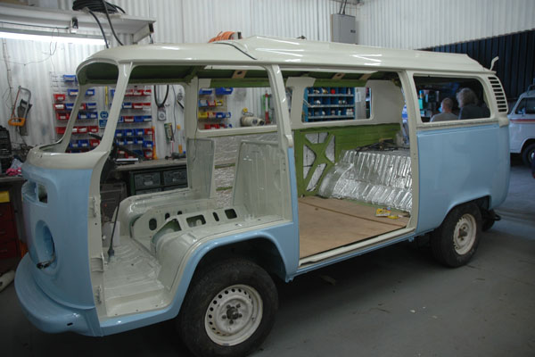 Just back from paint, 1976 blue and white bus