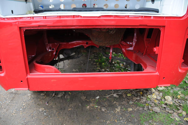 painted engine bay ready for its new 2litre engine and box