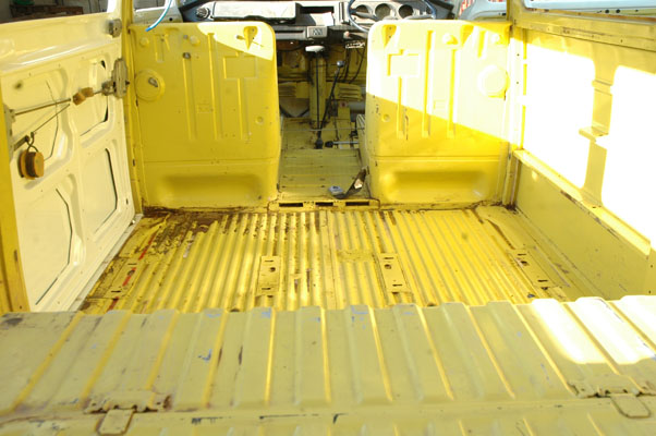 interior shot showing the van all cleaned out ready for it camper shak interior